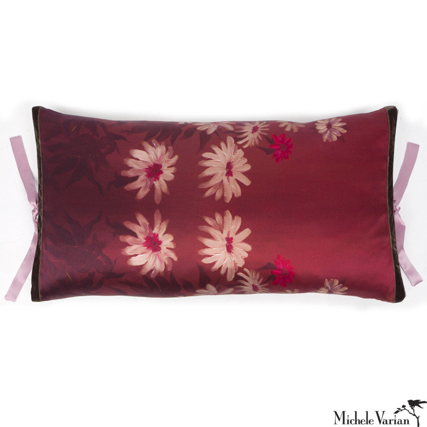 Silk Print Pillow Daisy Rouge 12x22