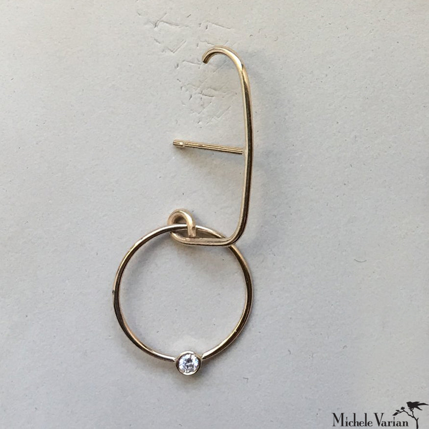 Hoop and Diamond Gold Suspender Single Earring