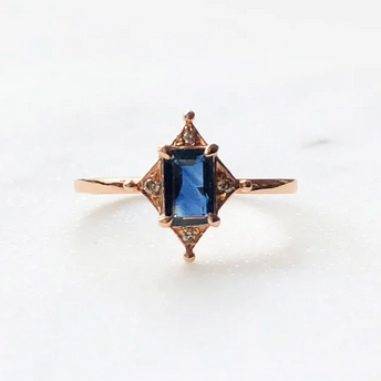 Rose Gold and Sapphire Deco Ring