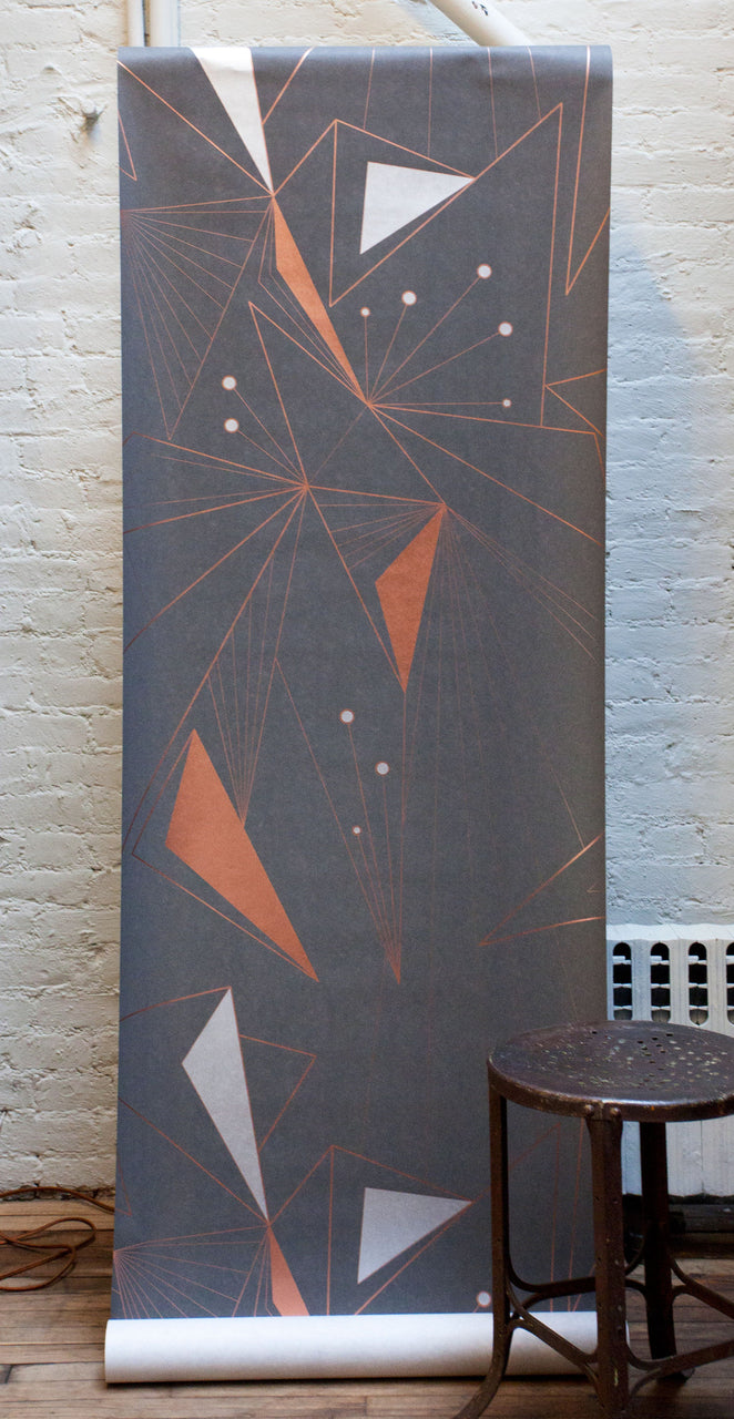 DecoPrism Wallpaper Metallic Copper, Silver and Bronze on Graphite