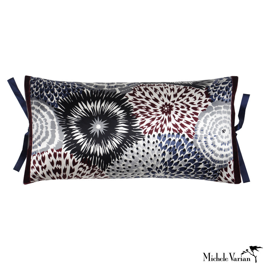 Silk Print Pillow Delta Floral Navy 12x22
