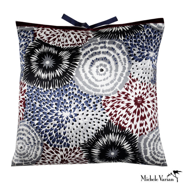 Silk Print Pillow Delta Floral Navy 22x22