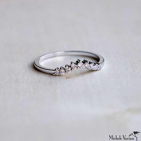 White Gold Curve Diamond Ring