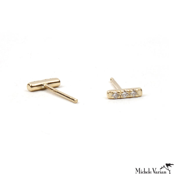 Tiny Pave Diamond Gold Stud Earrings