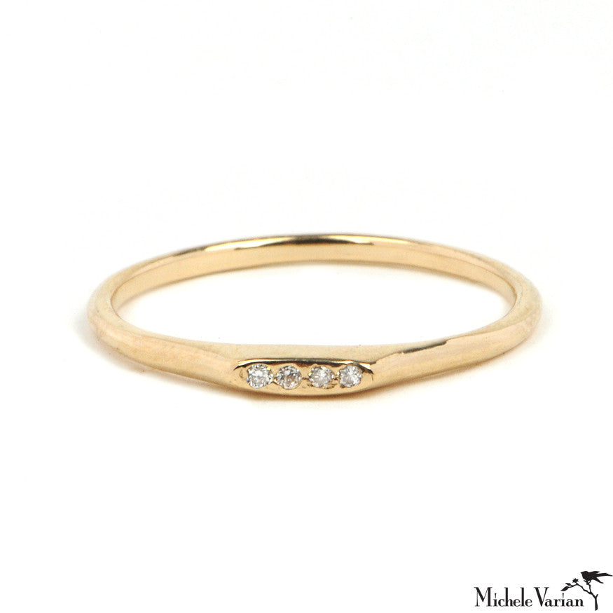 Gold Four Diamond Bar Ring