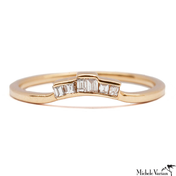 Diamond Baguette Gold Ring Topper