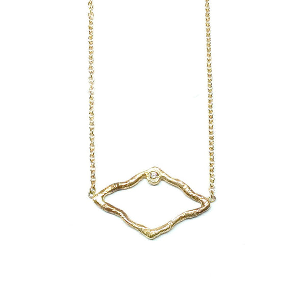 Open Gold Diamond Shaped Necklace