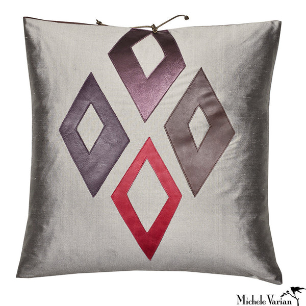 Silk Applique Pillow Diamonds Carbon 16x16
