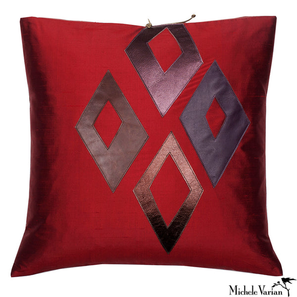 Silk Applique Pillow Diamonds Garnet 16x16