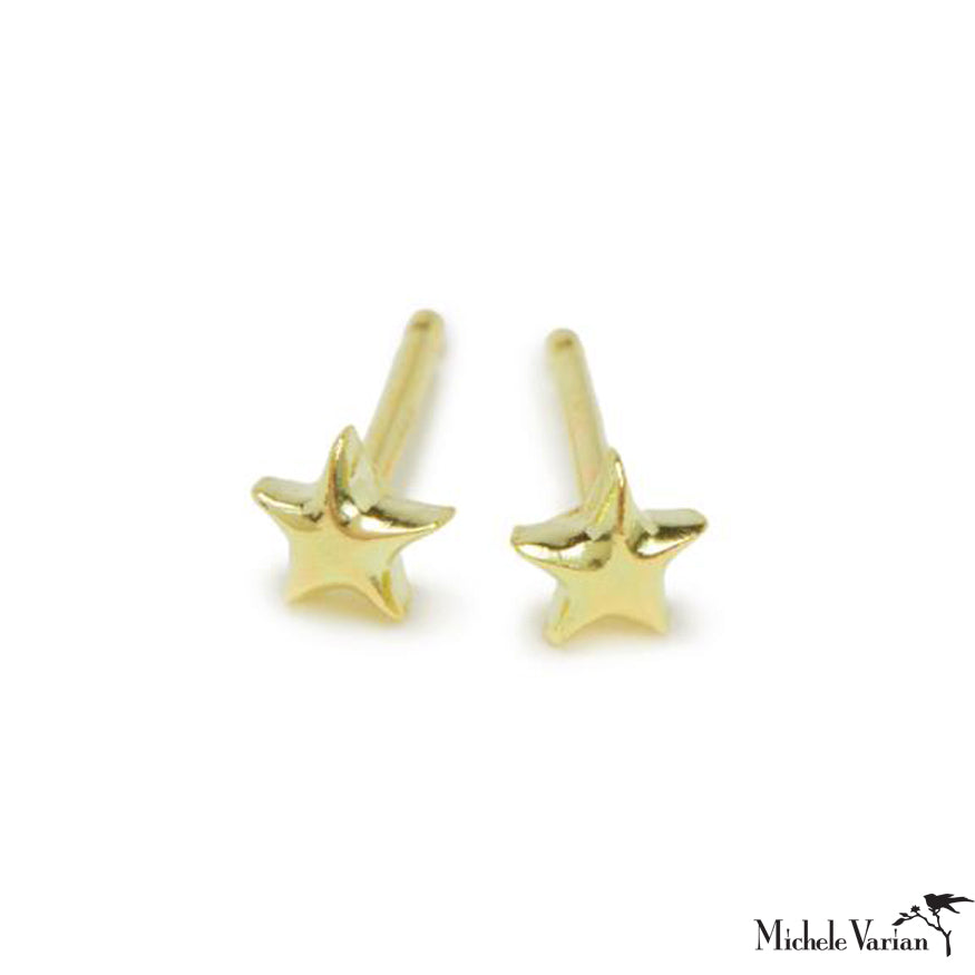Tiny Stars Gold Stud Earrings