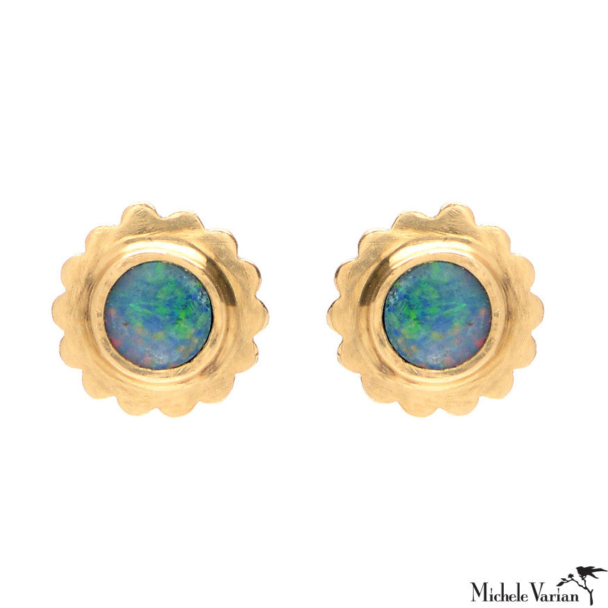 Opal Gold Flower Petal Stud Earrings