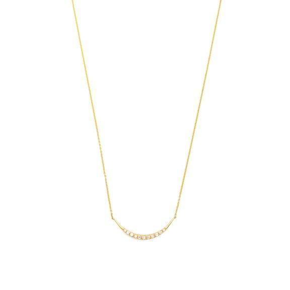 Gold Crescent Pave Diamonds Necklace