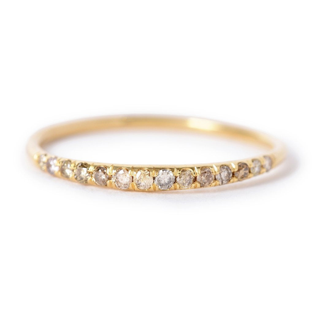 Tapered Diamond Pave Wave Band Ring