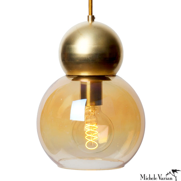 Brass Double Bubble Light Fixture 8 inch