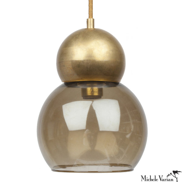 Glass and Brass Double Bubble Light Fixture Large 8 inch