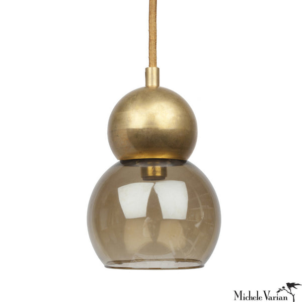 Smoke Glass and Brass Double Bubble Light Fixture Small 5 inch