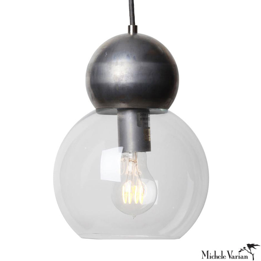 Steel Double Bubble Light Fixture Large 8 inch