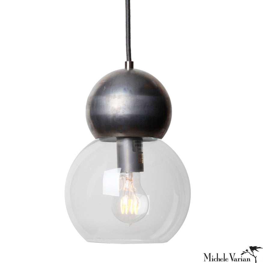 Steel Double Bubble Pendant Light Small 5 inch
