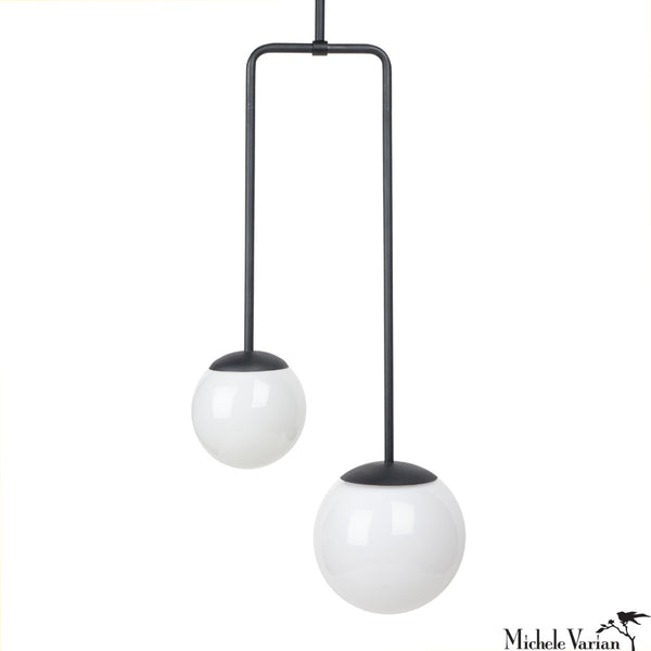 Double Circuit Pendant Globe Light Fixture in Black