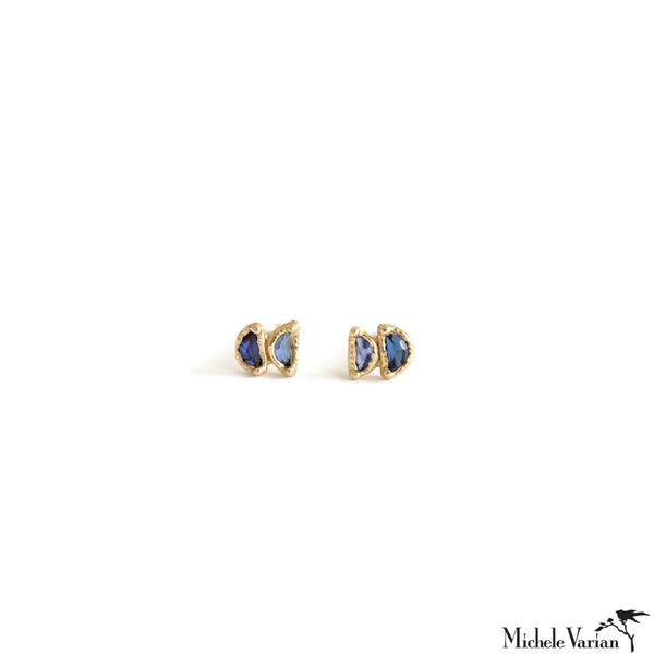 Tiny Double Sapphire Gold Stud Earrings