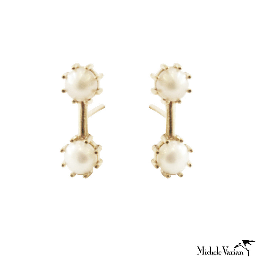 Double Pearl Gold Studs