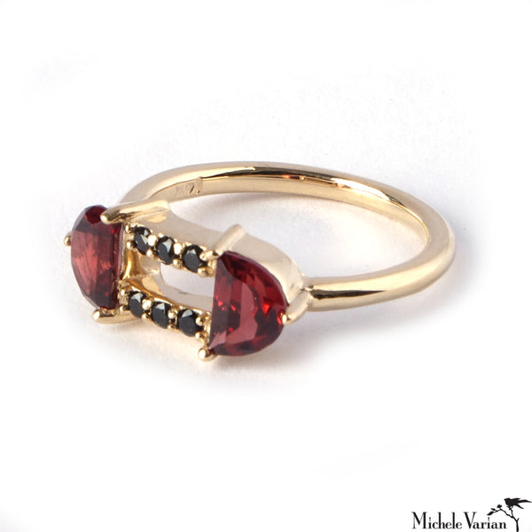Black Sapphire and Garnet Gold Portia Ring