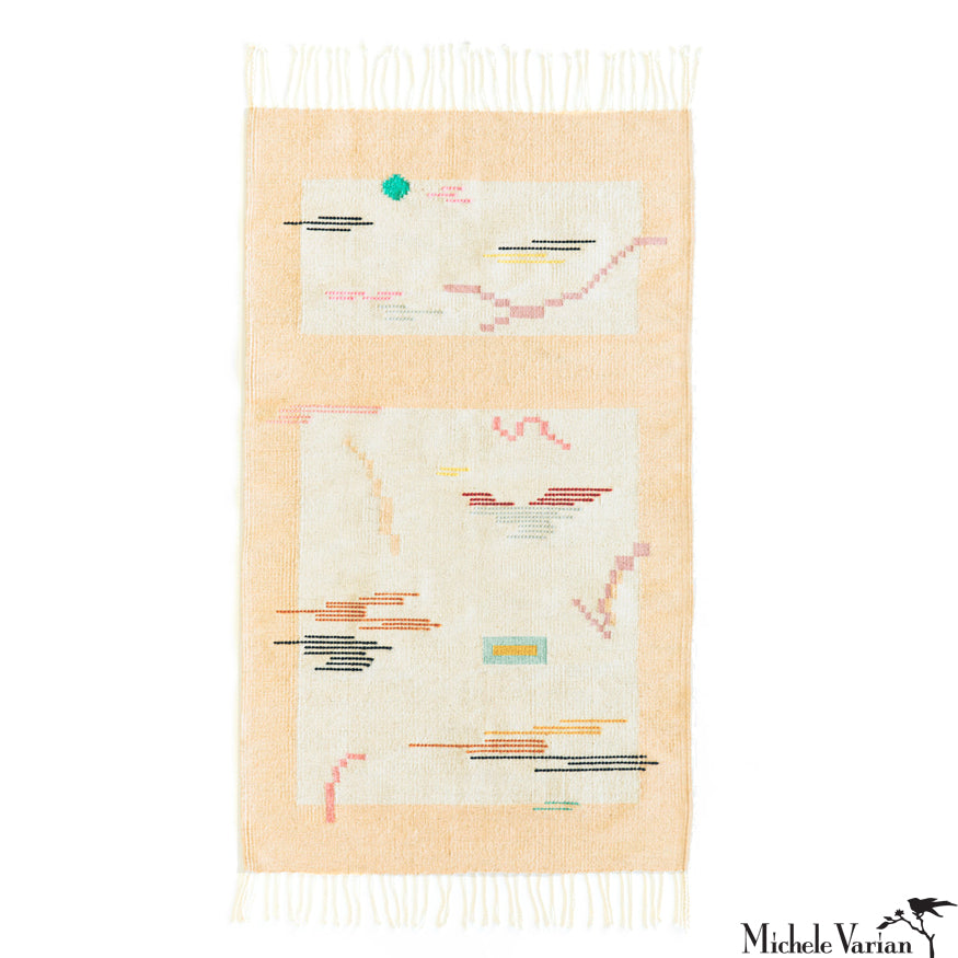Abstract Tetris Woven Wool and Cotton Rug Cream