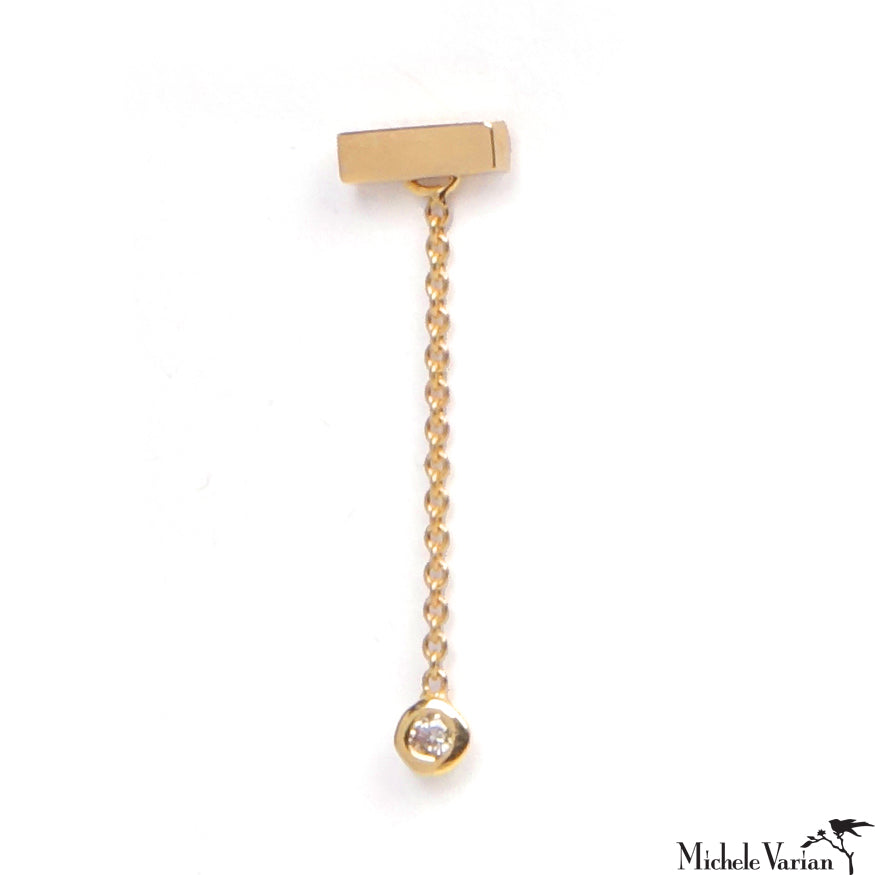 Gold Earring Drift Rectangle Single Diamond Drop