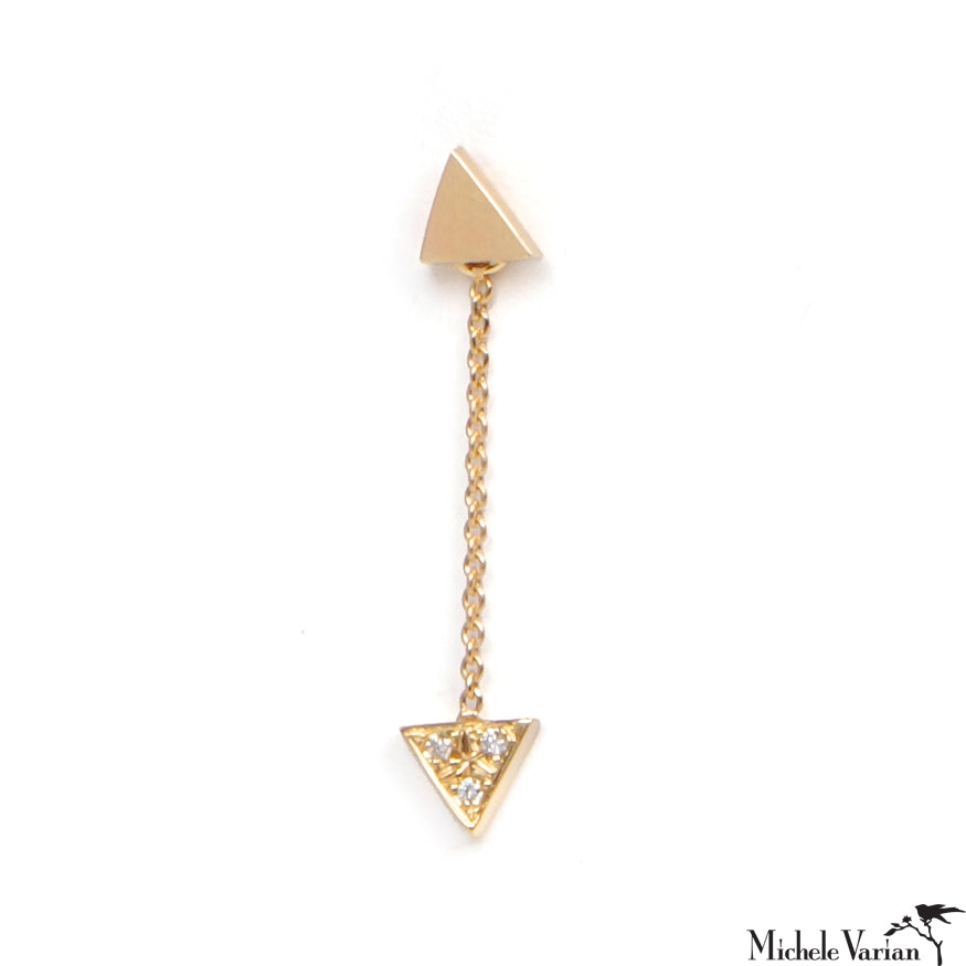 Gold Earring Drift Triangle Pave Single Diamond Drop