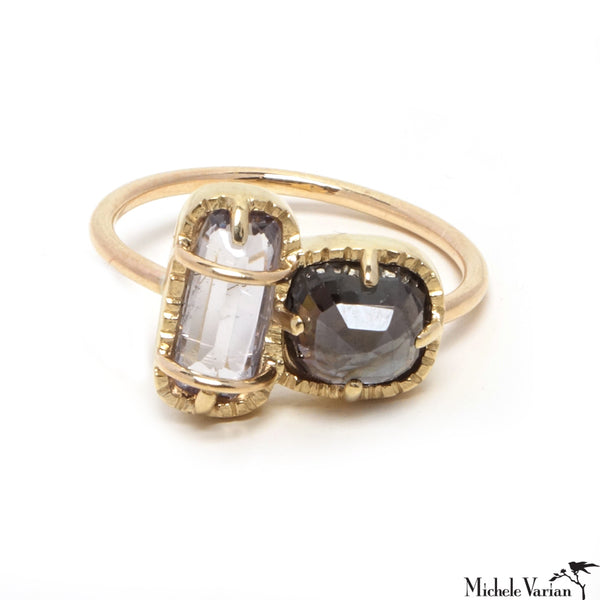 One of a Kind Spinel Gold Duo Ring