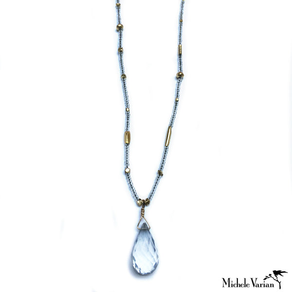 Clear Seed and Gold Vermeil Bead Necklace with Quartz Drop