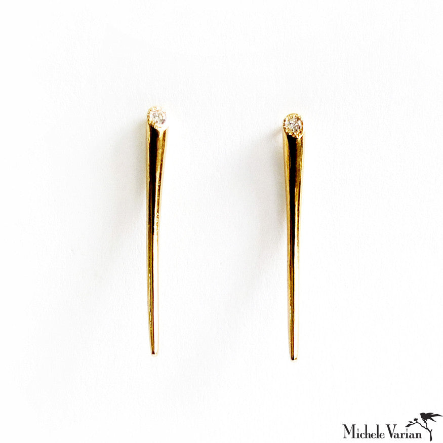 Gold Spike Earrings With Diamond