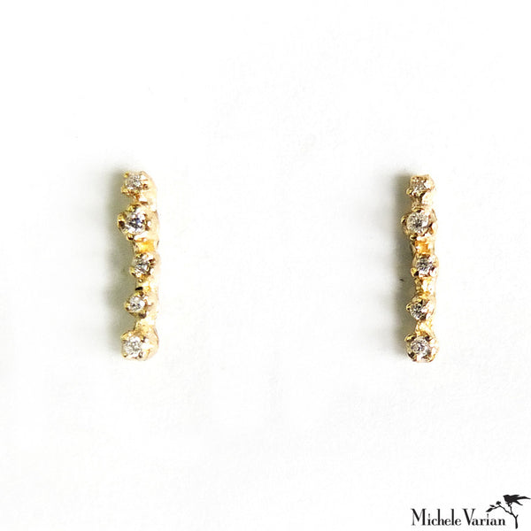 Gold and Diamond Line Studs