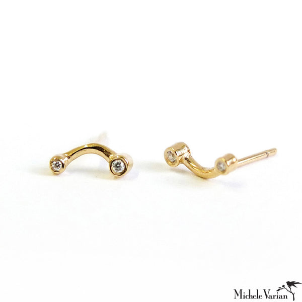 Gold Curved Bar Earrings with Diamond