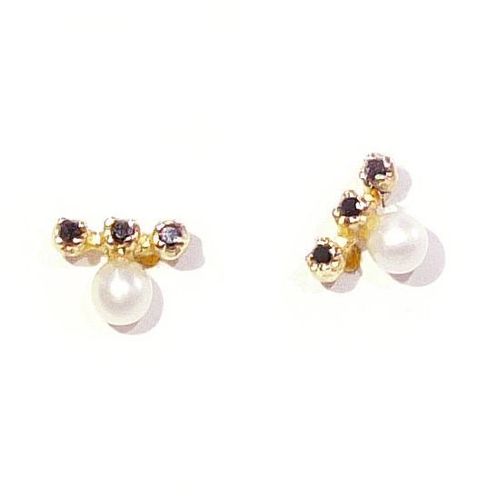 Gold Pearl and Black Diamond Earrings