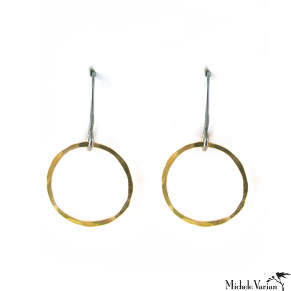 Mixed Metals Textured Circle Pendant Earrings