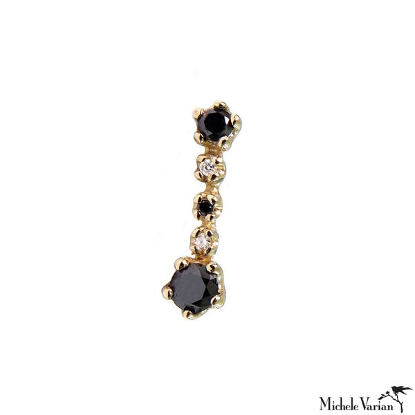 Single Black Diamonds Stud Earrings