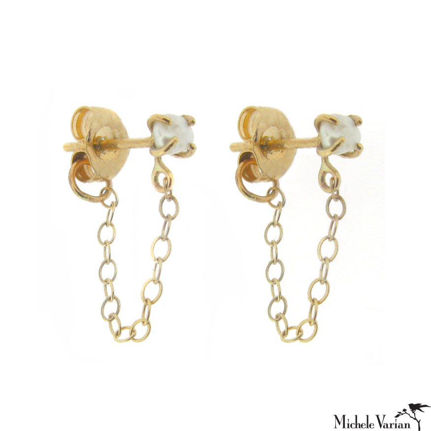 Gold Keshi Pearl Chain Earrings