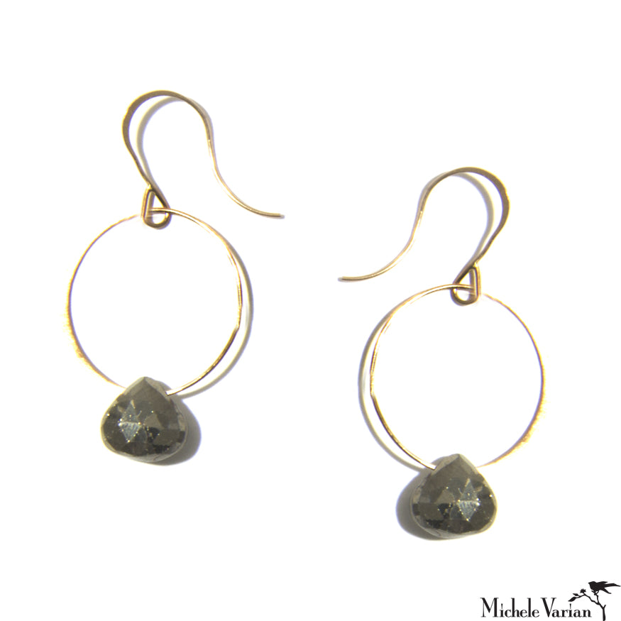 Pyrite and Gold Single Drop Earrings