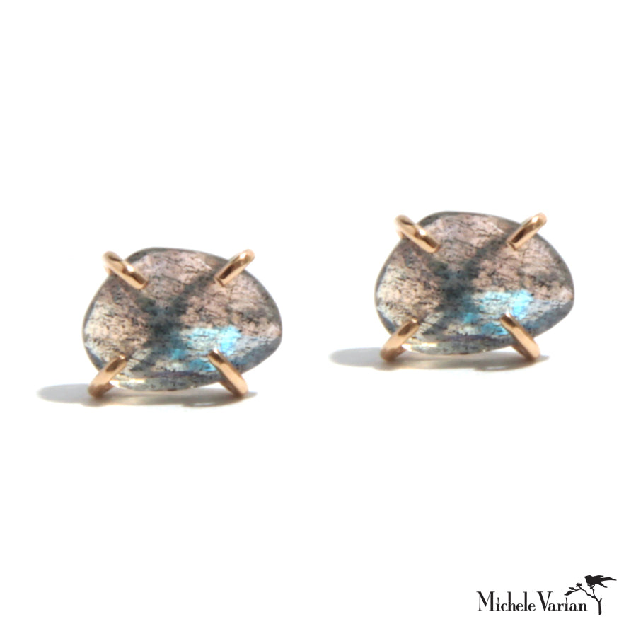 Gold Labradorite Freeform Post Earrings