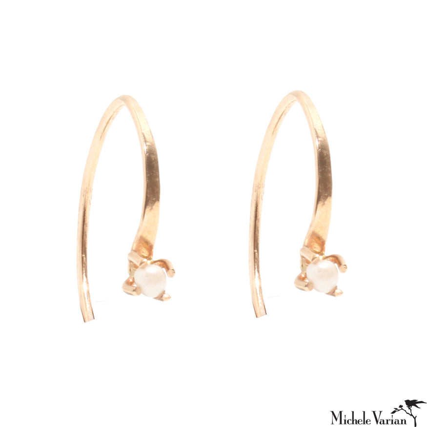 Gold Mini Wishbone Hoop with Pearl Earring
