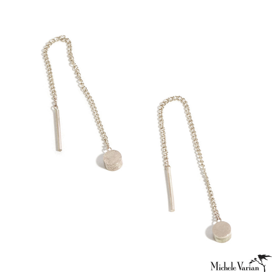 Sterling Silver Pull Through Thread Chain Earrings