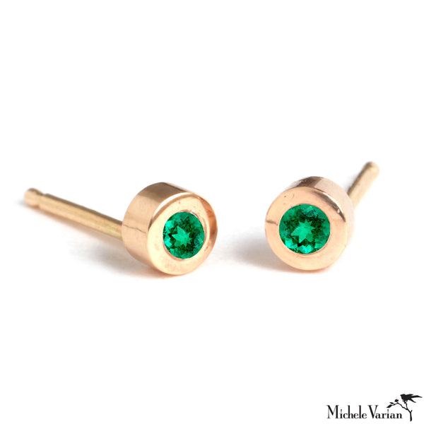 Gold Tiny Disc Stud with Emeralds