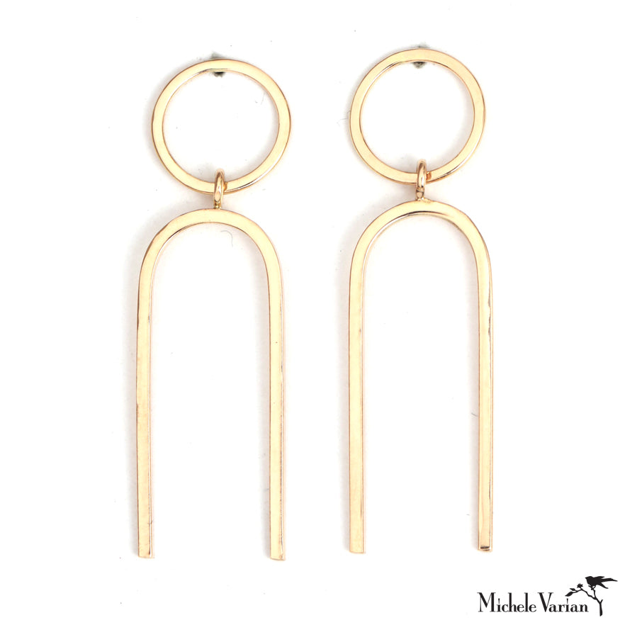 Gold Round Stud with Elongated U Drop Earring