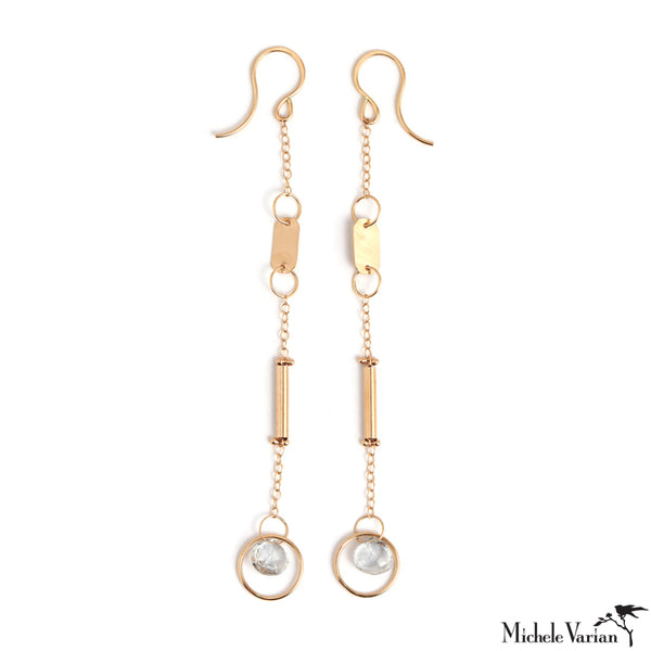 Gold Chain Sheet Tube Earring with Single White Topaz
