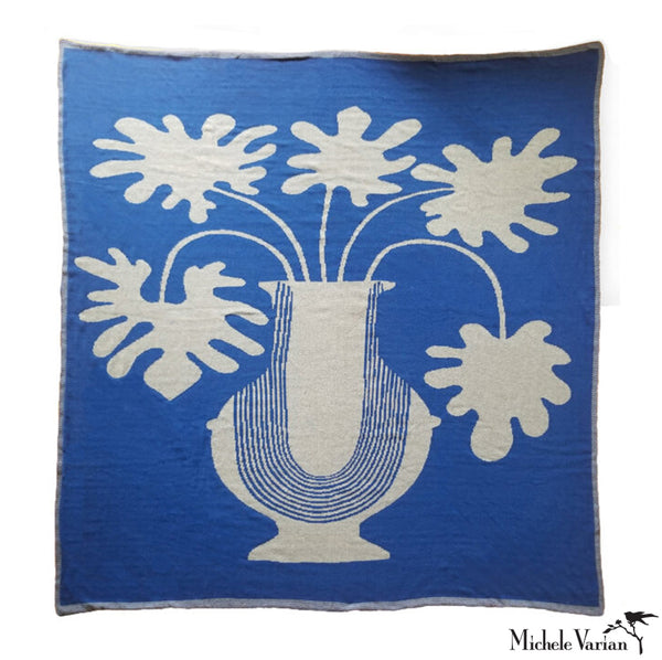Reversible Ebb and Flow Vase Knitted Blanket Cobalt Blue