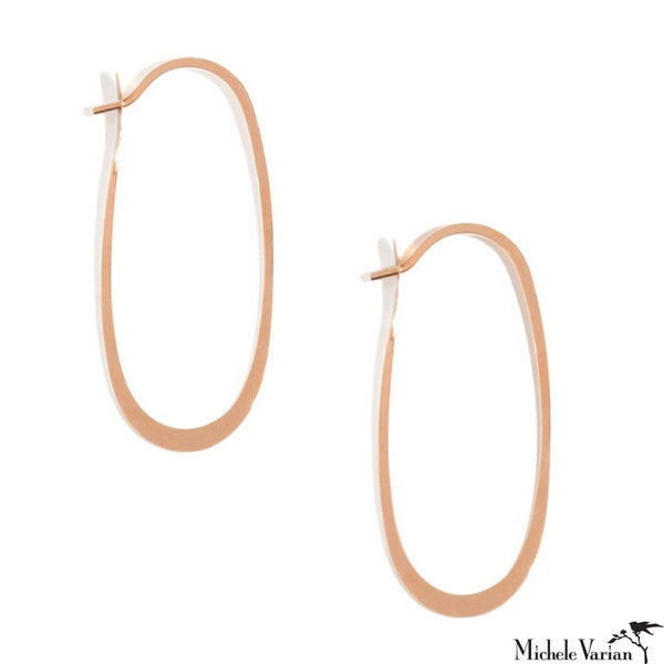Eliptical Rose Gold Hoops