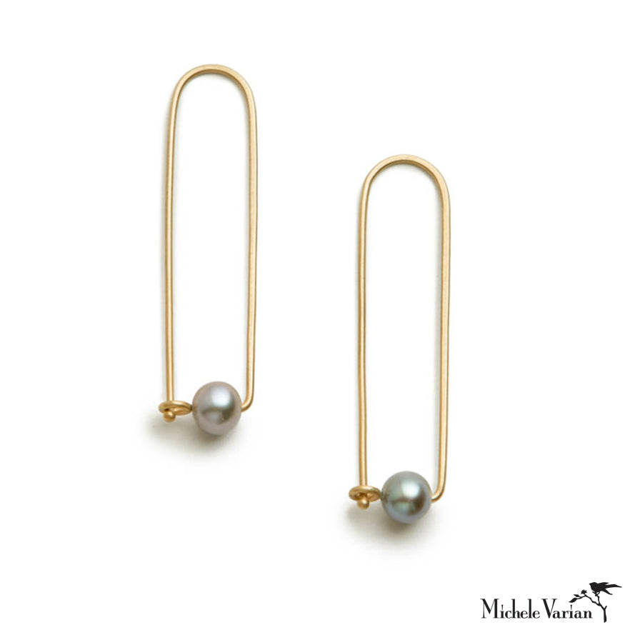 Arch Pearl Gold Hoops