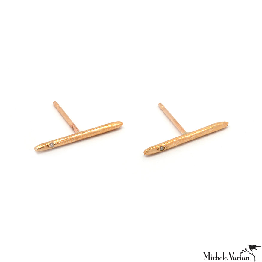 Gold Stick Line and Diamond Stud Earrings
