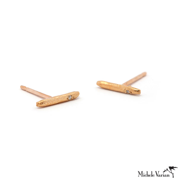 Tiny Stick Line Gold and Diamond Stud Earrings